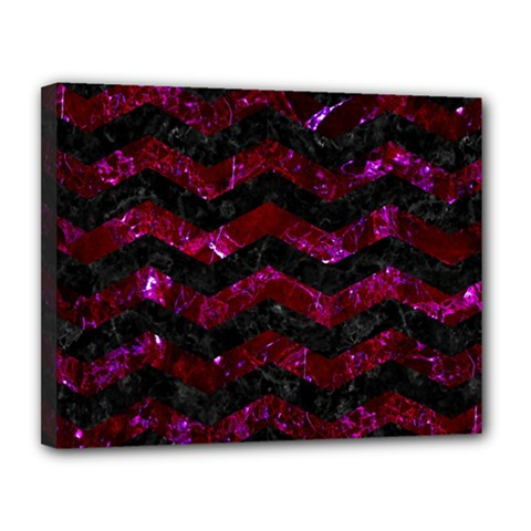 Chevron3 Black Marble & Burgundy Marble Canvas 14  X 11  by trendistuff