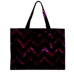 Chevron9 Black Marble & Burgundy Marble Zipper Mini Tote Bag by trendistuff