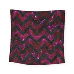 Chevron9 Black Marble & Burgundy Marble (r) Square Tapestry (small) by trendistuff