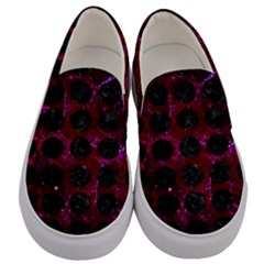 Circles1 Black Marble & Burgundy Marble (r) Men s Canvas Slip Ons