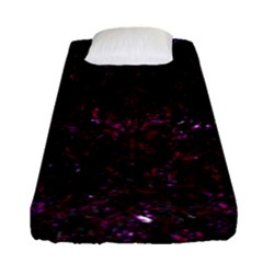 Damask1 Black Marble & Burgundy Marble Fitted Sheet (single Size) by trendistuff