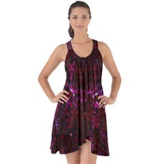 Damask2 Black Marble & Burgundy Marble (r) Show Some Back Chiffon Dress by trendistuff