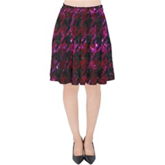 Houndstooth1 Black Marble & Burgundy Marble Velvet High Waist Skirt by trendistuff