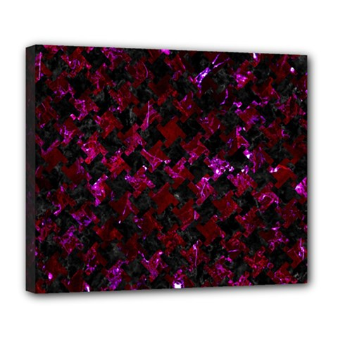 Houndstooth2 Black Marble & Burgundy Marble Deluxe Canvas 24  X 20   by trendistuff