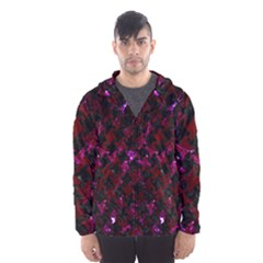 Houndstooth2 Black Marble & Burgundy Marble Hooded Wind Breaker (men) by trendistuff