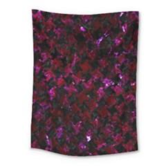 Houndstooth2 Black Marble & Burgundy Marble Medium Tapestry by trendistuff