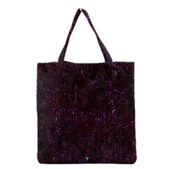 Hexagon1 Black Marble & Burgundy Marble Grocery Tote Bag by trendistuff