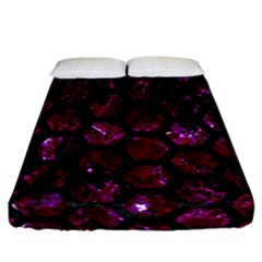 Hexagon2 Black Marble & Burgundy Marble (r) Fitted Sheet (california King Size) by trendistuff