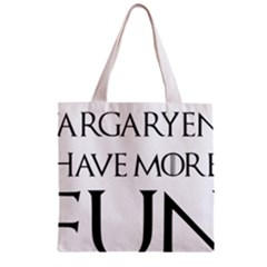 Targaryens Have More Fun   Blondes Have More Fun Black Zipper Grocery Tote Bag by PodArtist
