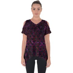 Scales2 Black Marble & Burgundy Marble Cut Out Side Drop Tee