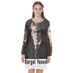 Sergei Yesenin Long Sleeve Chiffon Shift Dress  by Valentinaart