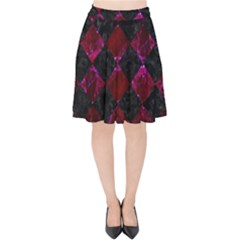 Square2 Black Marble & Burgundy Marble Velvet High Waist Skirt by trendistuff