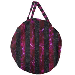 Stripes1 Black Marble & Burgundy Marble Giant Round Zipper Tote