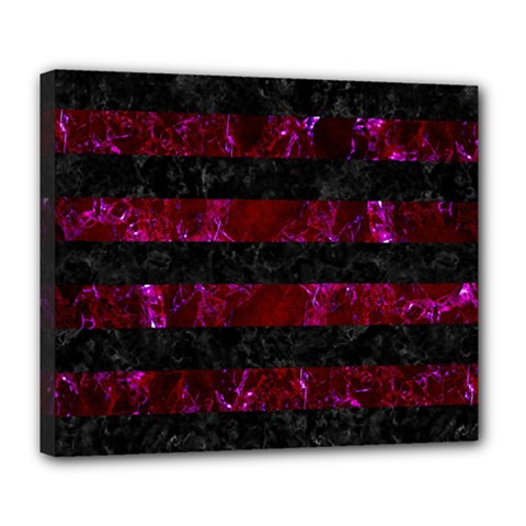 Stripes2 Black Marble & Burgundy Marble Deluxe Canvas 24  X 20   by trendistuff