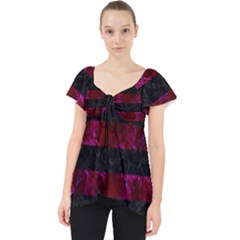 Stripes2 Black Marble & Burgundy Marble Lace Front Dolly Top