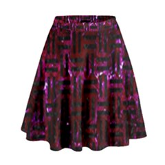 Woven1 Black Marble & Burgundy Marble (r) High Waist Skirt by trendistuff