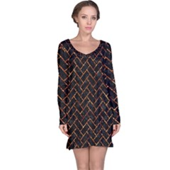 Brick2 Black Marble & Copper Foil Long Sleeve Nightdress by trendistuff