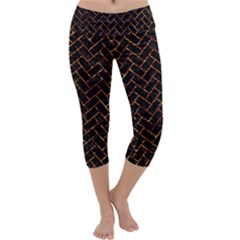 Brick2 Black Marble & Copper Foil Capri Yoga Leggings by trendistuff