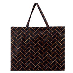 Brick2 Black Marble & Copper Foil Zipper Large Tote Bag by trendistuff