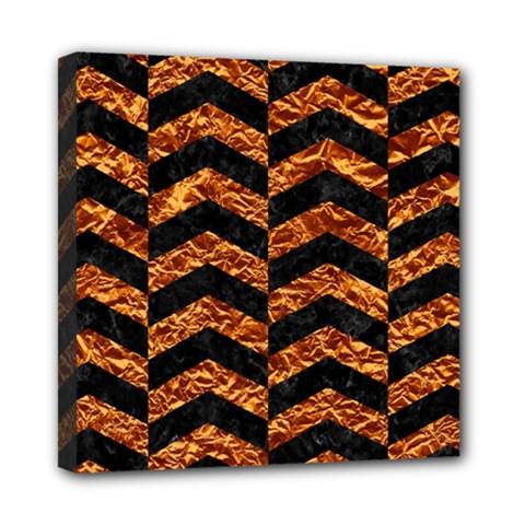 Chevron2 Black Marble & Copper Foil Mini Canvas 8  X 8  by trendistuff