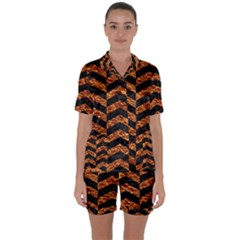 Chevron2 Black Marble & Copper Foil Satin Short Sleeve Pyjamas Set