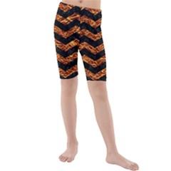 Chevron3 Black Marble & Copper Foil Kids  Mid Length Swim Shorts by trendistuff