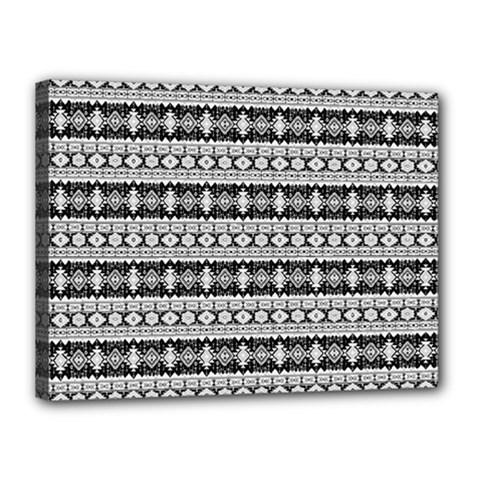 Fancy Tribal Border Pattern 17b Canvas 16  X 12  by MoreColorsinLife