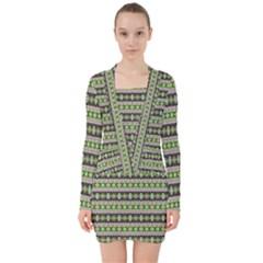 Fancy Tribal Border Pattern 17a V Neck Bodycon Long Sleeve Dress