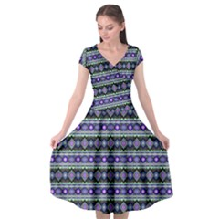 Fancy Tribal Border Pattern 17d Cap Sleeve Wrap Front Dress by MoreColorsinLife