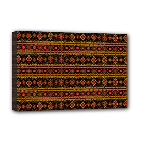 Fancy Tribal Border Pattern 17e Deluxe Canvas 18  X 12   by MoreColorsinLife