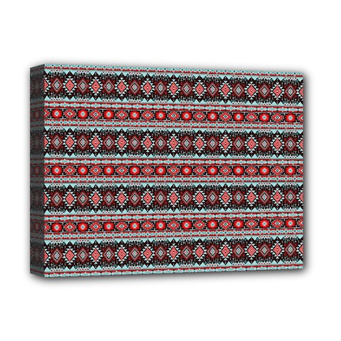 Fancy Tribal Border Pattern 17f Deluxe Canvas 16  X 12   by MoreColorsinLife