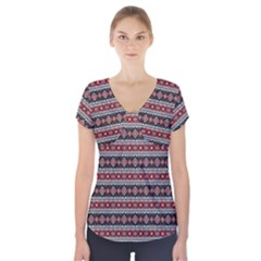 Fancy Tribal Border Pattern 17f Short Sleeve Front Detail Top