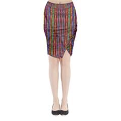 Star Fall In  Retro Peacock Colors Midi Wrap Pencil Skirt by pepitasart