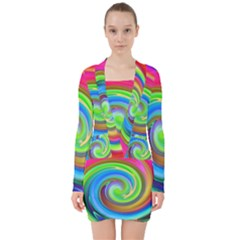 Rainbow Twist V Neck Bodycon Long Sleeve Dress