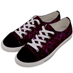 Woven2 Black Marble & Burgundy Marble (r) Women s Low Top Canvas Sneakers by trendistuff