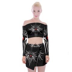 Inquisition Symbol Off Shoulder Top With Skirt Set