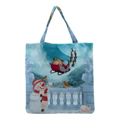 Christmas Design, Santa Claus With Reindeer In The Sky Grocery Tote Bag by FantasyWorld7