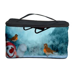 Christmas Design, Santa Claus With Reindeer In The Sky Cosmetic Storage Case by FantasyWorld7