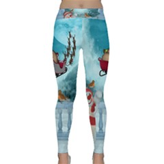 Christmas Design, Santa Claus With Reindeer In The Sky Classic Yoga Leggings by FantasyWorld7