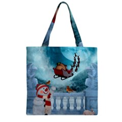 Christmas Design, Santa Claus With Reindeer In The Sky Zipper Grocery Tote Bag by FantasyWorld7