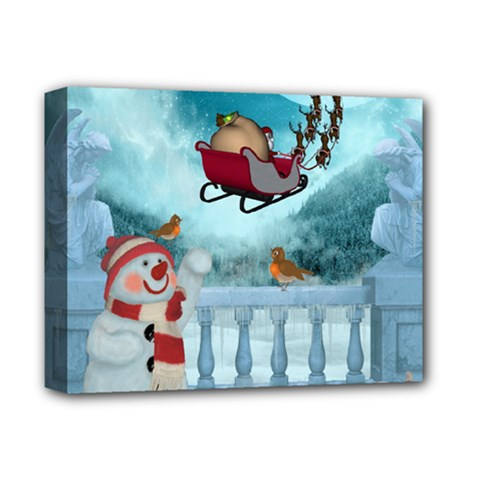 Christmas Design, Santa Claus With Reindeer In The Sky Deluxe Canvas 14  X 11  by FantasyWorld7