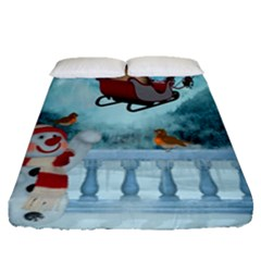 Christmas Design, Santa Claus With Reindeer In The Sky Fitted Sheet (queen Size) by FantasyWorld7