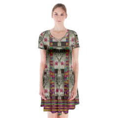 Wings Of Love In Peace And Freedom Short Sleeve V Neck Flare Dress by pepitasart
