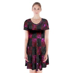 Square1 Black Marble & Burgundy Marble Short Sleeve V Neck Flare Dress