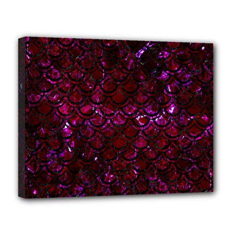 Scales2 Black Marble & Burgundy Marble (r) Canvas 14  X 11  by trendistuff