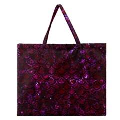 Scales2 Black Marble & Burgundy Marble (r) Zipper Large Tote Bag by trendistuff