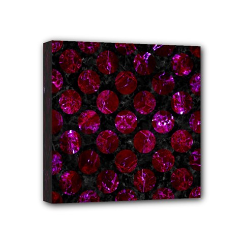 Circles2 Black Marble & Burgundy Marble Mini Canvas 4  X 4  by trendistuff