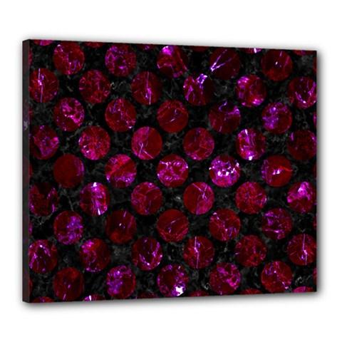Circles2 Black Marble & Burgundy Marble Canvas 24  X 20  by trendistuff