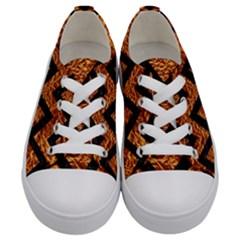 Chevron9 Black Marble & Copper Foil (r) Kids  Low Top Canvas Sneakers