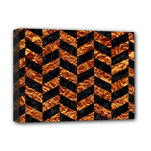 Chevron1 Black Marble & Copper Foil Deluxe Canvas 16  X 12   by trendistuff